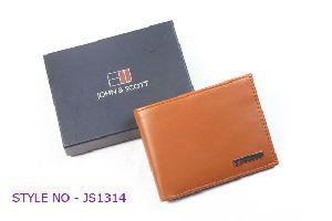 JS1314 Mens Light Brown Leather Wallet