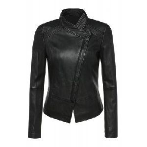 Ladies Black Leather Jacket 02