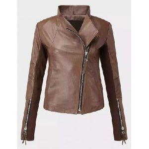 Ladies Brown Leather Jacket 02