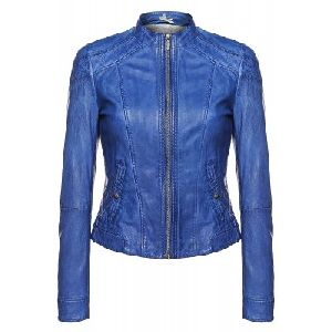 Ladies Royal Blue Leather Jacket