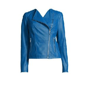 Ladies Sky Blue Leather Jacket