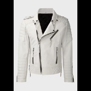Ladies White Leather Jacket