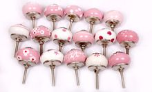 White and Pink Ceramic Knobs