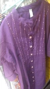 Ladies Purple Printed Kurti