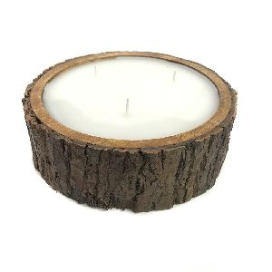 Wood Bark Tea Light Candle