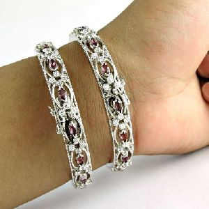 Captivating 925 Sterling Silver Ruby CZ Gemstone Bangle