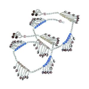 Claptoap ! Multi Colour Glass 925 Sterling Silver Anklets