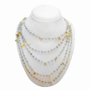 925 STERLING SILVER GOLD PLATED LABRADORITE BEADS WOMEN\'S NECKLACE