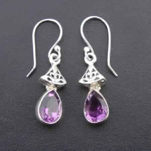 925 STERLING SILVER HAND CRAFTED INDIAN AMETHYST DANGLE WOMEN\'S EARRINGS