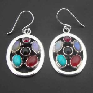 925 STERLING SILVER NATURAL MULTI COLOR GEMSTONE DANGLE EARRINGS
