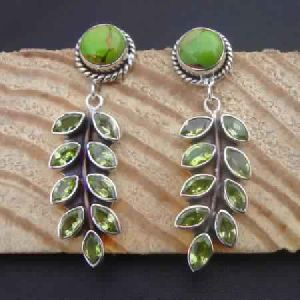 925 STERLING SILVER NATURAL PERIDOT AND TURQUOISE LEAF EARRINGS