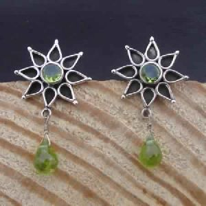 925 STERLING SILVER NATURAL PERIDOT DROP- TURQUOISE LONG STUD EARRINGS