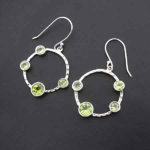 PERIDOT 925 STERLING SILVER HAND CRAFTED BEAUTIFUL DESIGNED DANGLE EARRINGS