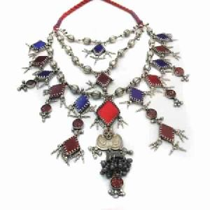 RAJASTHANI OLD SILVER MULTICOLORED 925 NECKLACE