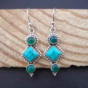 TURQUOISE HAND CRAFTED 925 STERLING SILVER DANGLE EARRINGS