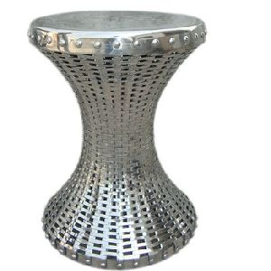 Round Metal Hand Woven Stool