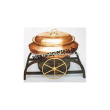Brass Chafing Dish With Iron Metal Base.