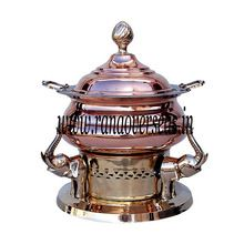 Elephant Trunk Up Copper Brass Chafing Dish.