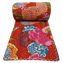 COVERLET FLOWER PRINTED RED COLOR KANTHA QUILT