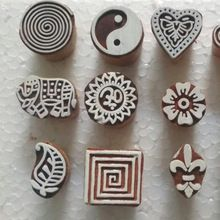 Hand Carved Textile Wooden Handmade Brown Wood Stamp Crafting Printing Block