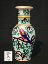 Handmade Rich Arts And Crafts Parrot Natural Marble Stone Flower Vase