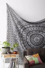 Rajasthan Black & White Elephant Mandala Tapestry Wall Hanging Hippie Indian Tapestry