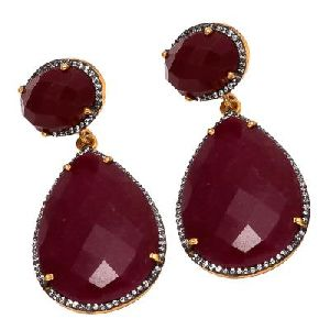 925 Sterling Silver Dyed Ruby With White Zirconia Earring