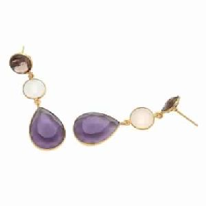 Amethyst Quartz and Milky Chalcedony And Smoky Quartz Earring