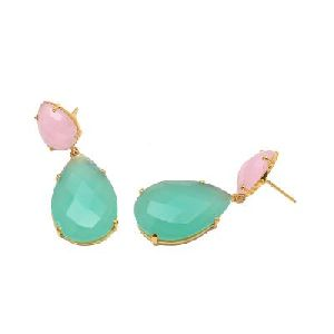 Aqua And Rose Chalcedony Earring