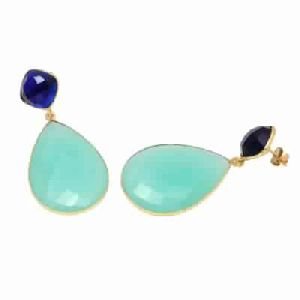 Aqua Chalcedony And Blue Sapphire Fashion Earring