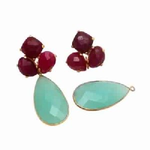 Aqua Chalcedony and Dyed Ruby Earring