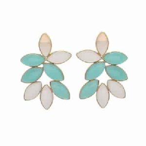 Aqua Chalcedony and Shell Gemstone Earring