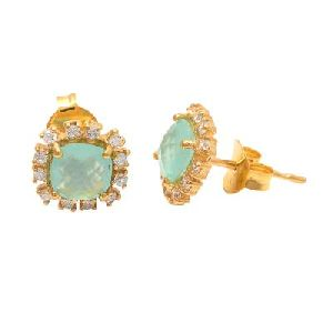 Aqua Chalcedony And White Zarconia Small Gemstone Earring