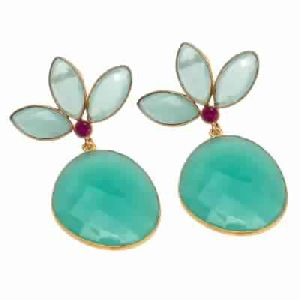 Aqua Chalcedony Earring With Pink Cz Earring
