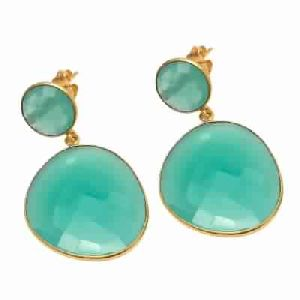 Aqua Chalcedony Fancy Shape Gemstone Earring