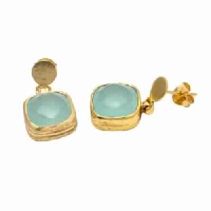 Aqua Chalcedony Fashion Silver Earring