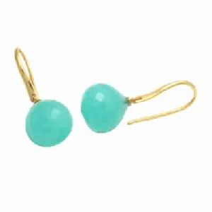 Aqua Chalcedony Onion Shape Fashion Earring