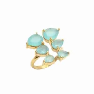 Aqua Chalcedony Pear Cut Gemstone Ring