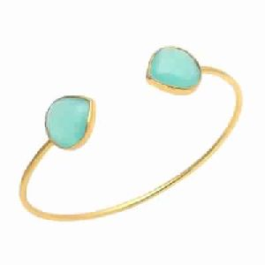 Aqua Chalcedony Pear Shape Bangle
