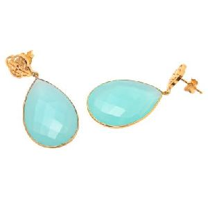 Aqua Chalcedony Pear Shape Gemstone Earring