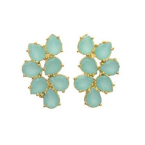 Aqua Chalcedony Small Pear Shape Gemstone Silver Earring