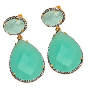 Aqua Chalcedony With Zirconia Fashion zircon Earring