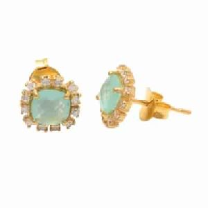 Aqua Chalcedony with Zirconia Gemstone Earring