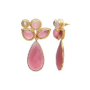 Beautiful Pink Monalisa Gemstone 925 Sterling Silver Gold Plated Earring