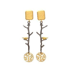 Bird on branch Spring tree earrings Bird earrings