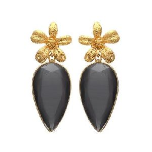Black Monalisa Gemstone Drop Earrings Gold Plated sterling silver jewelry