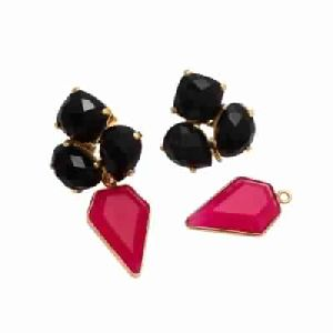 Black Onyx and Hot Pink Chalcedony Fashion Earring