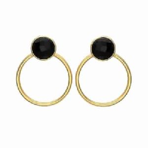 Black Onyx Earring Round Gemstone Earring