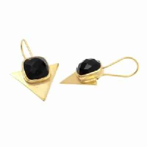 Black Onyx Earring Trillion Shape Earring
