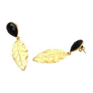 Black Onyx Leaf Earring